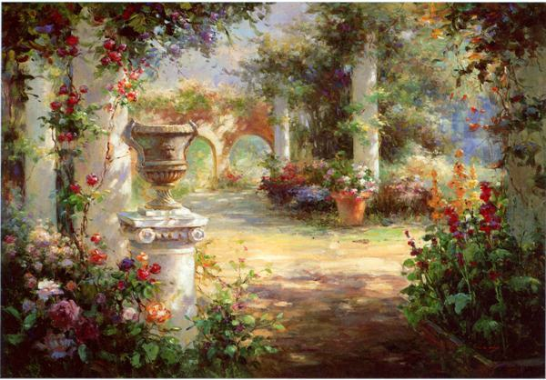 Free Shipping Mediterranean Sea Flower Garden Landscape Oil Painting Canvas  Painting Prints On Canvas Wall Art