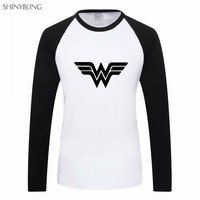 Shinybling Wonder Woman Hero Fitness Clothing Plus Size Womens Long Sleeve Casual T Shirt Female Graphic