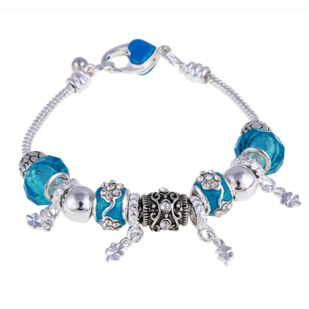 ZOSHI Pink Crystal Charm Silver Bracelets & Bangles for Women With Aliexpress Murano Beads Silver Bracelet Femme Jewelry 14