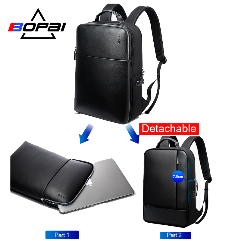 BOPAI Brand Detachable 2 in 1 Laptop Backpack USB External Charge Shoulders Anti-theft Backpack Waterproof Backpack for Men bopai usb charge backpack men leather for travelling fashion cool school backpack bags for boys anti theft laptop backpack 2018