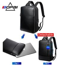 BOPAI Brand Detachable 2 in 1 Laptop Backpack USB External Charge Shoulders Anti-theft  Waterproof for Men