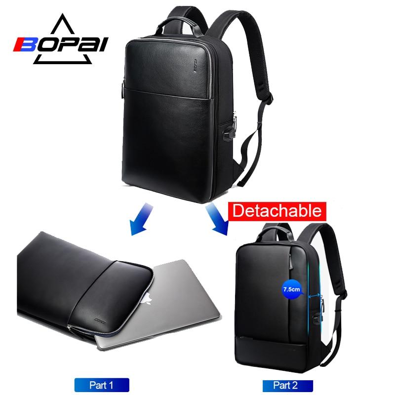BOPAI Merk Afneembare 2 in 1 Laptop Rugzak USB Externe Lading Schouders Anti diefstal Rugzak Waterdichte Rugzak voor Mannen-in Rugzakken van Bagage & Tassen op  Groep 1