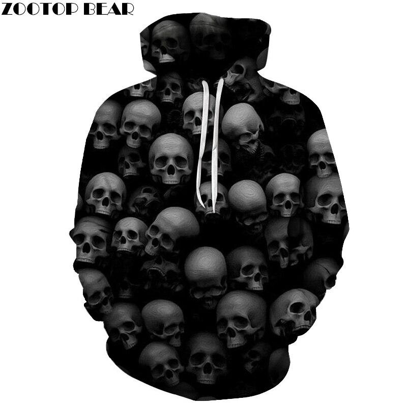 Skulls 2018 Mens Hoodies 3D Black Hoody Sweatshirt Autumn Fall Tracksuit Pullover Unisex Cloth Drop Ship ZOOTOP BEAR