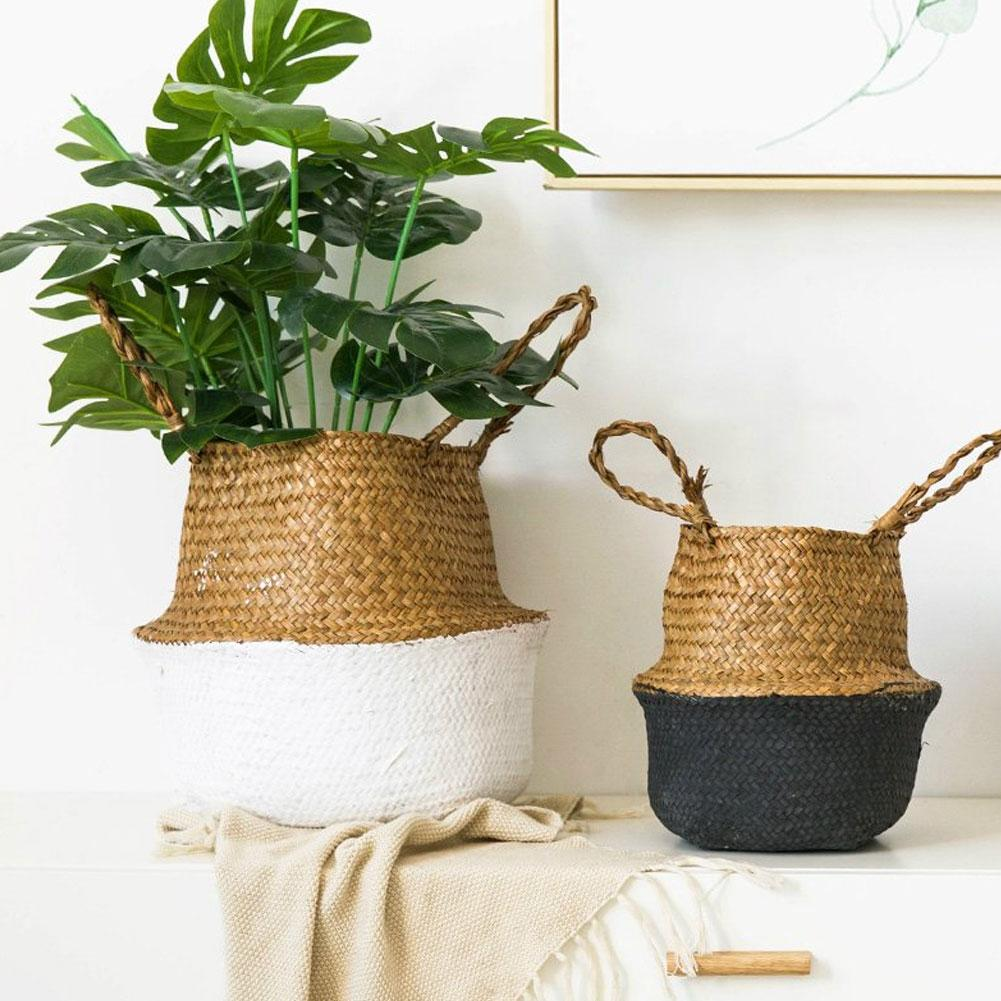 Seagrass Weaving Foldable Home Storage Bucket Toy Dirty Sundries Clothes Wicker Flower Pot Plants Basket Storage S/L/M/XL/XXL
