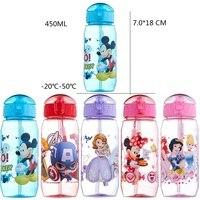 HOT SALE DISNE Minnie Mickey Mouse Kids Drinking Bottle Folding Straw School Childrens Cup Sipper Bottle
