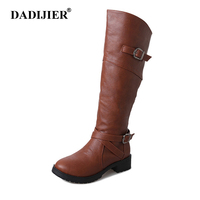 2018 new Women Thigh high Boots Women Winter motorcyle boots Buckle Knee high Leather boots plus size ST309