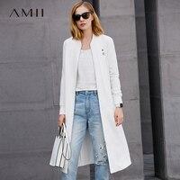 Amii Casual Women Minimalist Trench Coat 2018 100 Cotton Solid Zipper O Neck Female Trench Coats