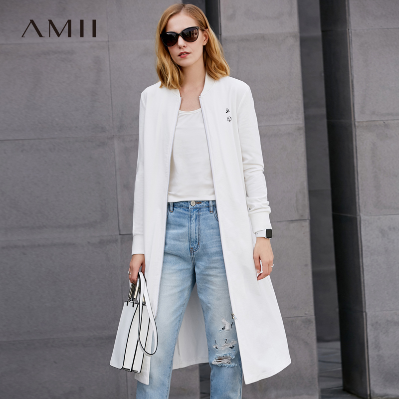 Amii Casual Women Minimalist Trench Coat 2019 100% Cotton Solid Zipper O Neck Female Trench Coats