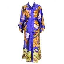 Rayón mujeres tobillo-longitud bata de noche chino estampado vintage dragón kimono ropa de dormir suelta cuello pico de manga larga Albornoz