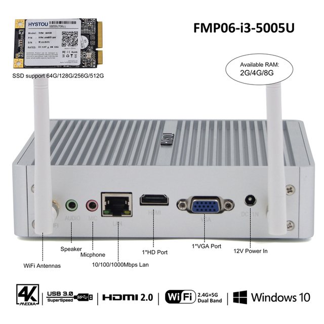 Gen5 HYSTOU i3 5005U 12V Fanless Mini PC Windows 10 Intel NUC Celeron Braswell N3150 N3050 Micro Desktop Computer X86 Barebone