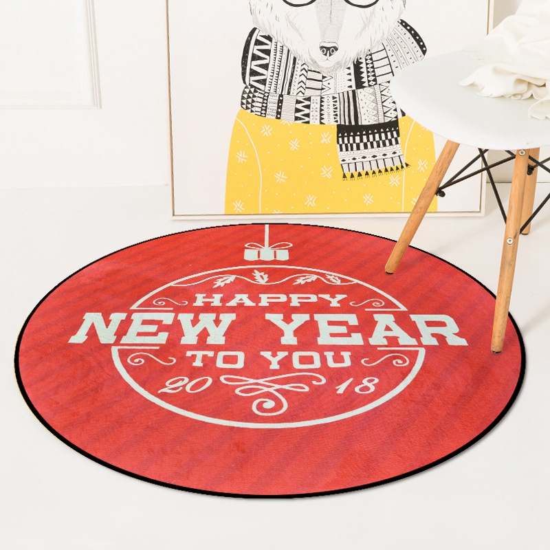 Happy Chinese New Year Red Round Tapete For Living Room Bedroom Home Festival Wedding Decor Carpet Rug Anti-Slip Soft Kids Mat