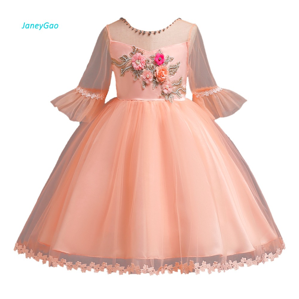 JaneyGao   Flower     Girl     Dresses   For Wedding Party First Communion   Dresses   With Sleeves Appliques Tulle Little   Girl   Formal Gown 2019