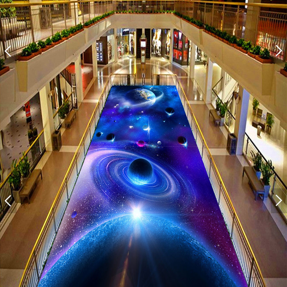 picture in picture Floor 3D Wallpaper Custom Murals PVC Planet Starry STAR Wall papers Living Room Flooring Wallpaper Good 291