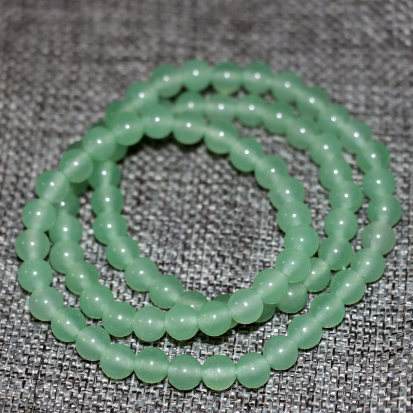 Hot sale charms 6mm natural stone green jades chalcedony round beads multilayer beaded bracelets bangle diy jewelry 18inch B2898