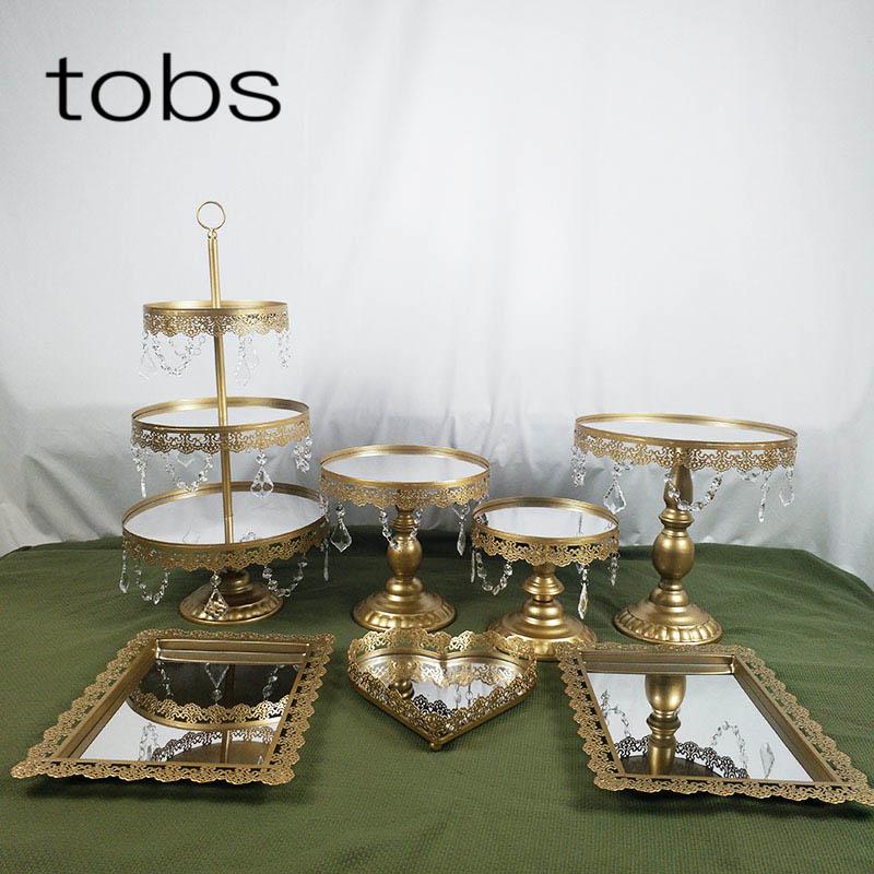 Gold1- 7PCS Beautiful Tray 3 Tier Cupcake Dessert Display Decoration Tools Wedding Crystal Mirror Cake Stand Set