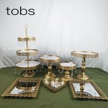 Gold1-7 шт. красивый поднос 3 уровня кекс ДЕСЕРТ ДИСПЛЕЙ украшения Инструменты свадебный кристалл зеркало торт стенд набор