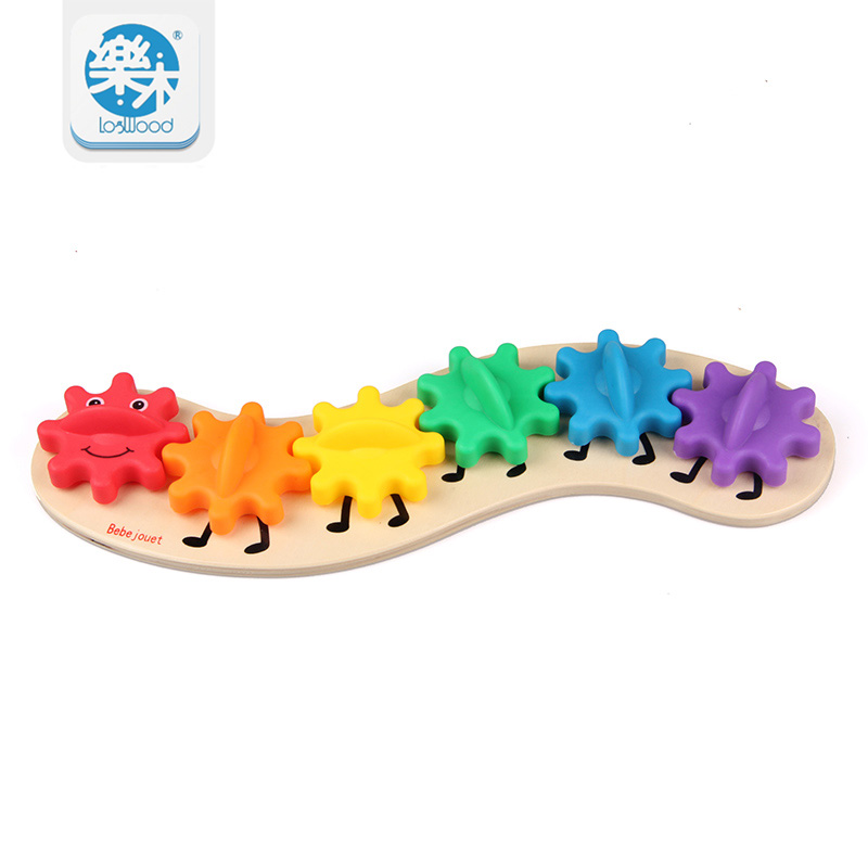35CM Kids Colorful Gear Caterpillar Toys Wooden toy Educational Toys Wood Intelligence Baby Toy Montessori Gifts for Children creative wooden math toy baby children maze toys intellectual development of children s educational classic toys gifts