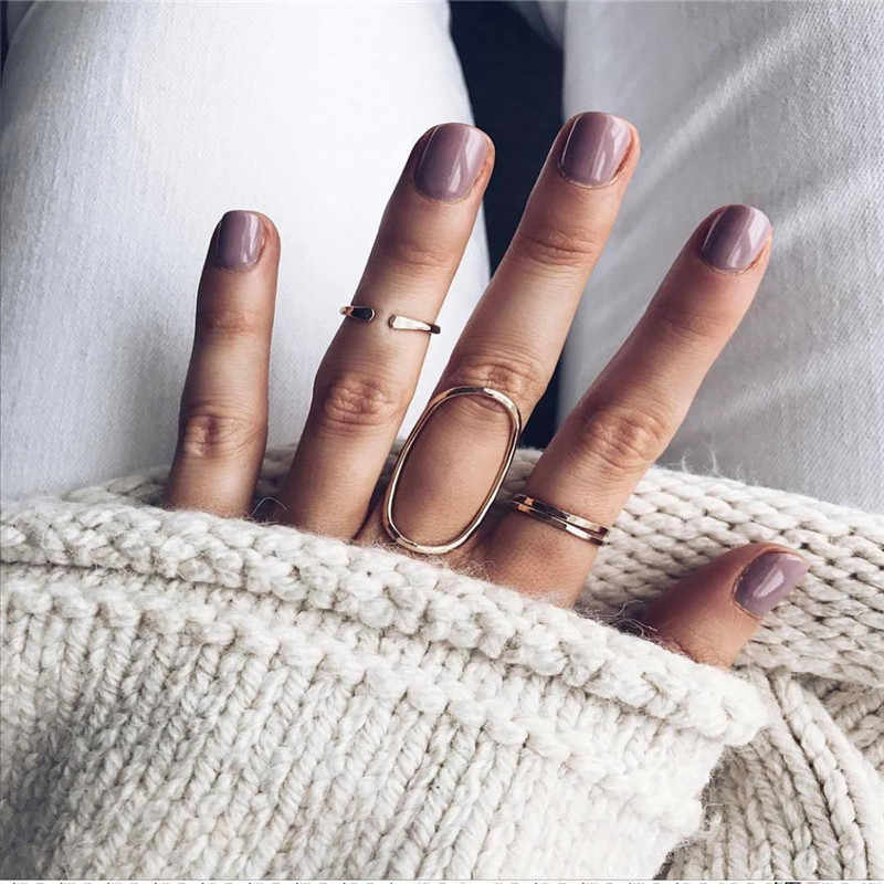 ahmed 3Pcs/Set Punk Rock Gold Geometric Round Midi Mid Finger Knuckle Rings Set for Women Mid Finger Ring Fashion Jewelry