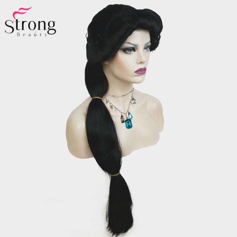 StrongBeauty Cosplay Wigs Jasmine Princess Long Black Wig Synthetic Hair