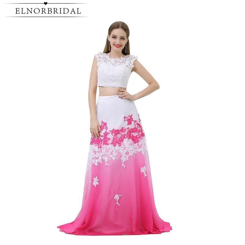 Modest Two Piece   Prom     Dresses   Floor Length 2019 Cap Sleeve Sheer A Line Formal Evening Gowns For Women Vestido De Festa