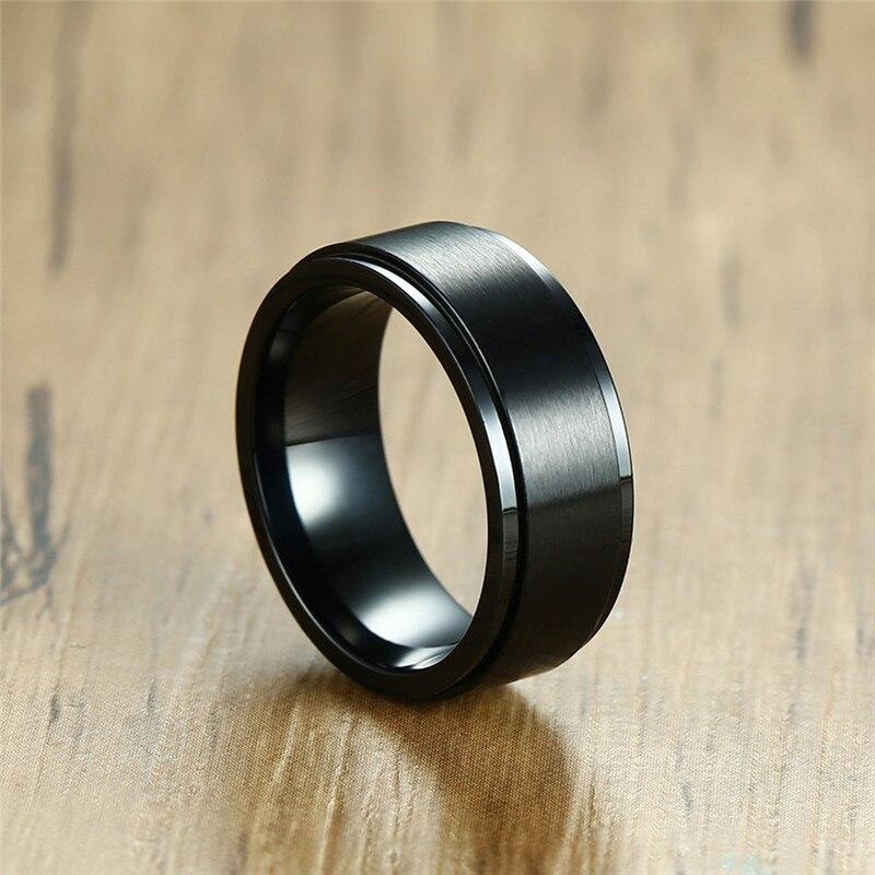 Wedding Band Stainless Steel 8mm: BOAKO Stainless Steel Rings For Men 8mm Black Spinner Ring