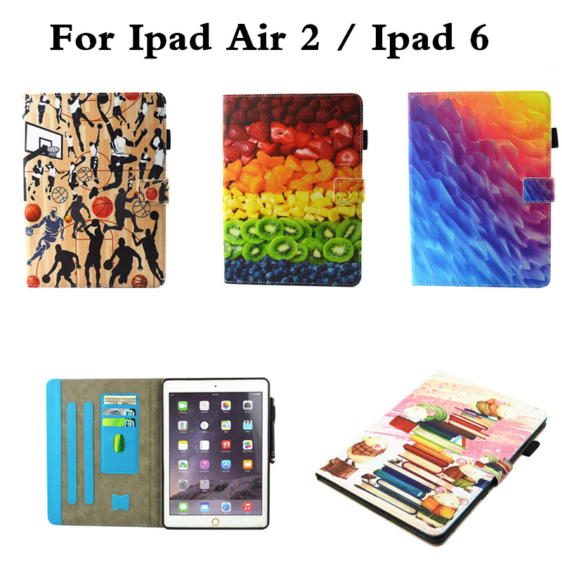 New for Apple iPad 6 Air2 shockproof Cover Luxury Cute Stand Wallet Flip PU leather +Silicon Soft TPU Case For Ipad Air 2 funda luxury book leather case for apple ipad air 2 with stand high quality flip leather cover smart case for ipad air2 wallet sleeves