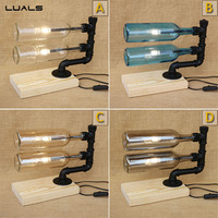 LUALS Loft Style Retro Table Lamp Personality Glass Bottle Deco mesa Desk Lamp Creative Bar Water Pipes Table Light LED Lighting