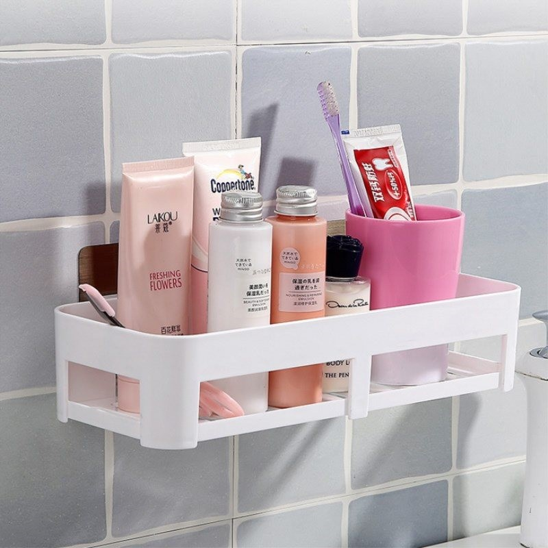 Free Punching Bathroom Shelf Vanity Storage Rack Bathroom Wall Wall Mount Bathroom Suction Cup Finishing Shelf WF308922
