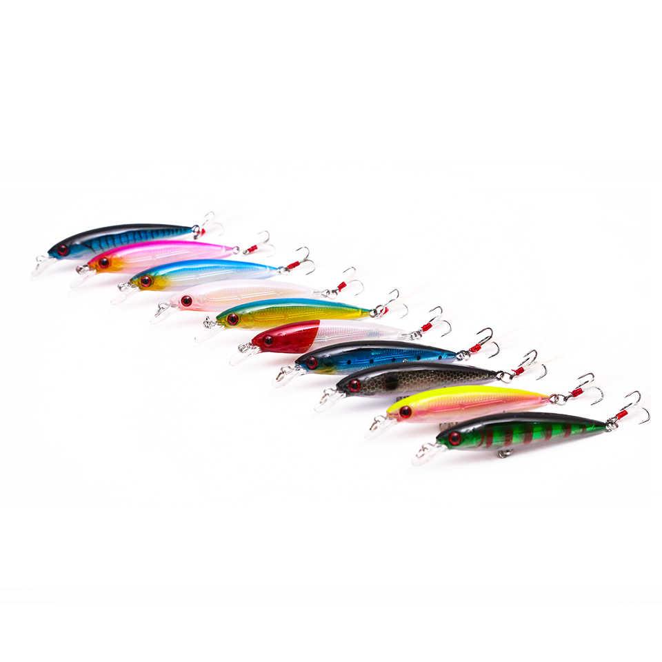 เดินปลา 1 Pcs เหยื่อตกปลาตะขอลึกเหยื่อ 9 cm 7.3g เหยื่อตกปลา Minnow wobbler ดำน้ำความลึก 0-2 m