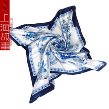 90cm*90cm brand women square silk scarf retro style floral printed neckerchief bandana woman polyester scarf hijab drop shipping