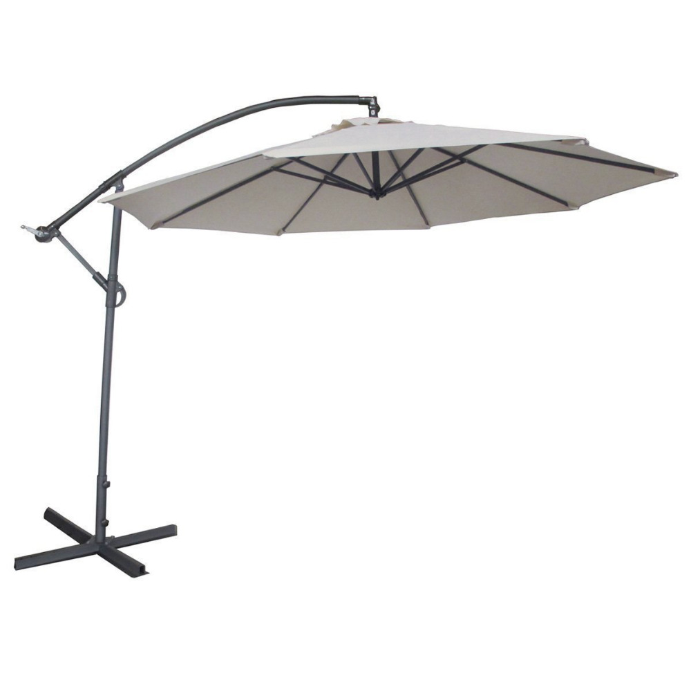 Abba Patio Offset Cantilever Patio Umbrella With Base Crank And Air Vented  Top 10 Feet Ivory