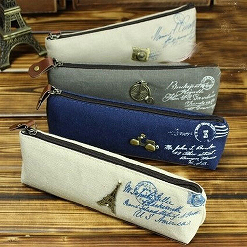 Canvas Stationery Storage Pen Pencil Case Coin Purse Pouch Bag Cosmetic Makeup
