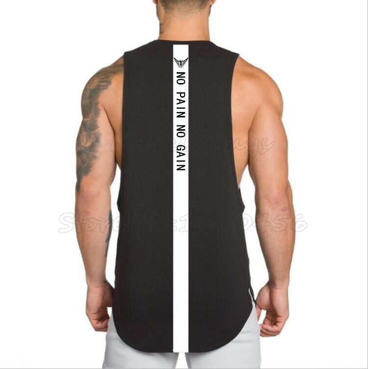 Marca NO PAIN NO GAIN ropa body building stringer gyms tank top hombres fitness Camiseta de algodón sin mangas camiseta musculosa