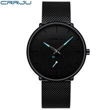 CRRJU ультра тонкий для мужчин часы лучший бренд класса люкс спортивные часы для мужчин водостойкая сетка сталь для мужчин наручные часы…