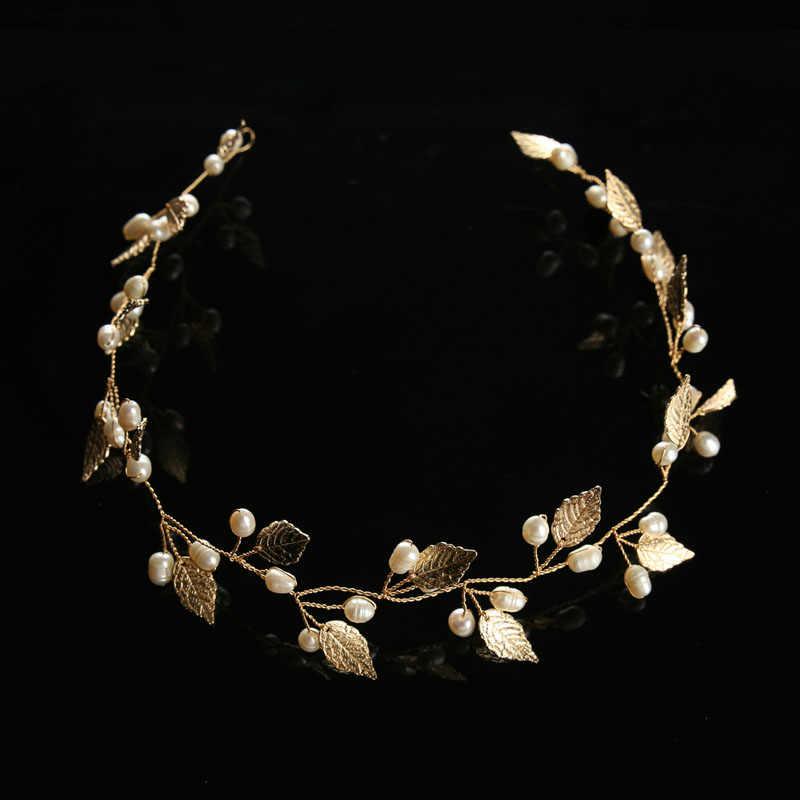 ACRDDK Gold Silver Pearl Leaf Headband Tiaras de Noiva เจ้าสาวเครื่องประดับ Headpiece ผู้หญิงเครื่องประดับงานแต่งงานอุปกรณ์เสริมผม SL