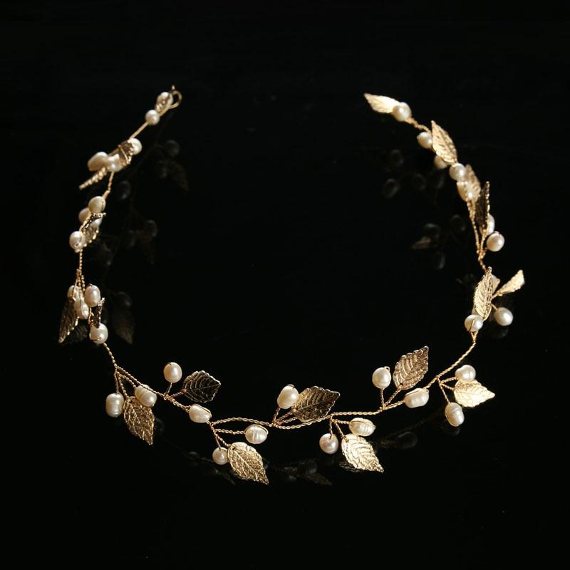 Oro perla hoja diadema banda para el cabello tiaras y coronas casco - Bisutería - foto 2