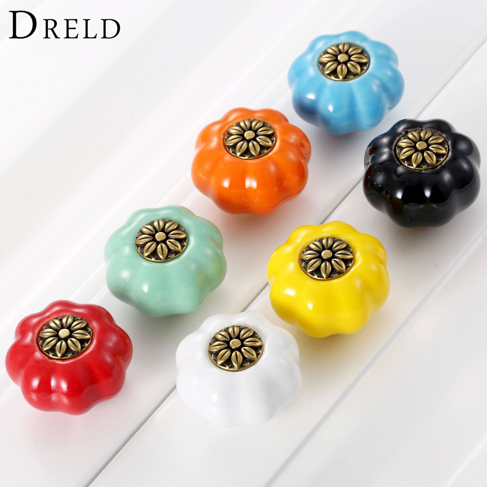 DRELD Pumpkin Furniture Handle Ceramic Door Knob Cupboard Drawer Cabinet Knob and Handles Kitchen Pull Handle Furniture Hardware pastoralism pumpkin ceramic knob kitchen ceramic door cabinets cupboard knob and handles 1pcs