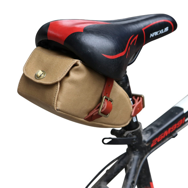 Tourbon Bicycle Saddle Bag Seat Tail Brown Canvas Phone Pouch Cycling Accessories Bike Equipment