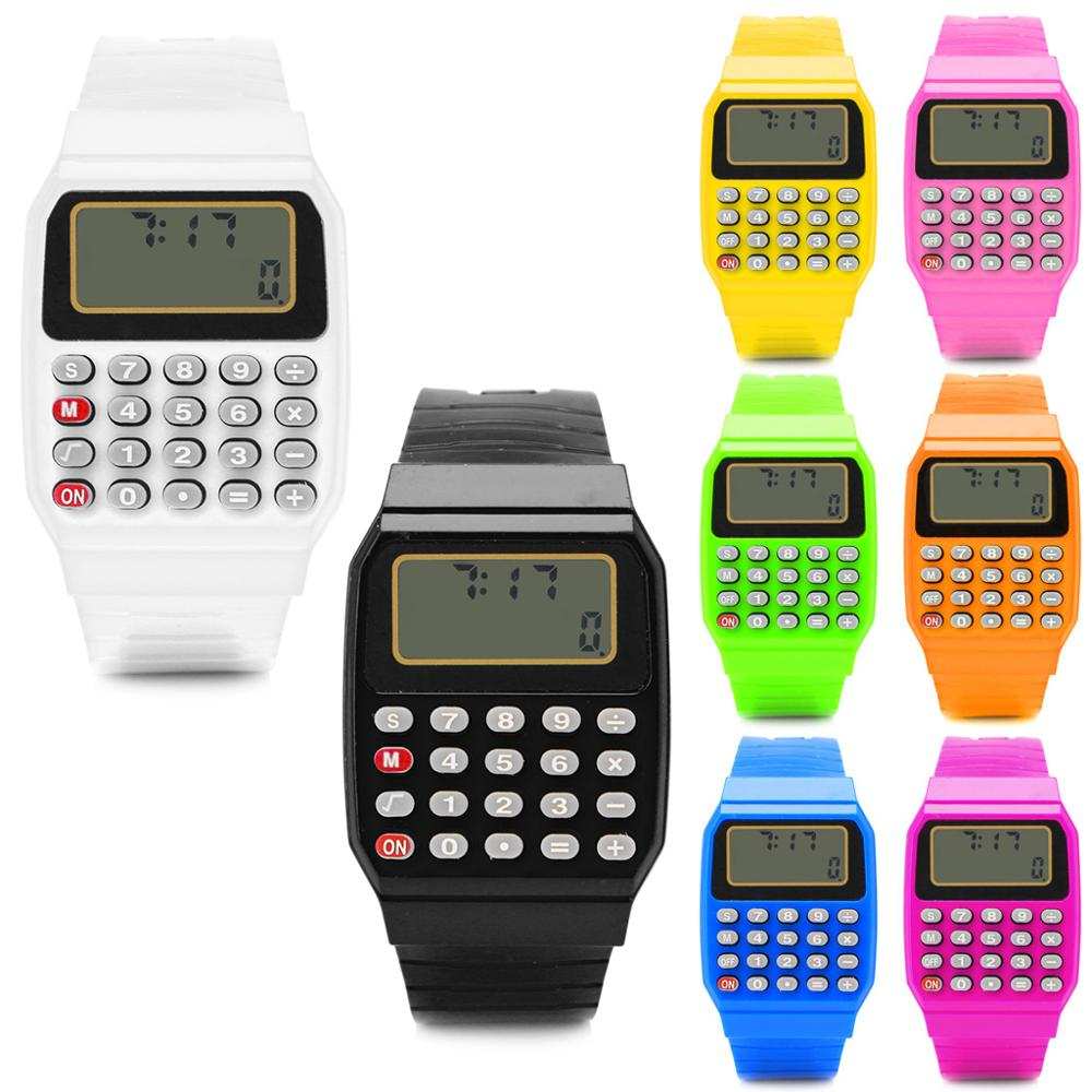 Electronic Calculator Child Watch Kid Silicone Date Time Stopwatch LCD Screen Display Relogio Digital Wrist Watches Gai