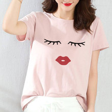 Summer Fashion Ulzzang Harajuku T-shirt Eye Lashes Red Lips Print Ladies White T Shirts Women Casual Short Sleeve Simple Tee Top