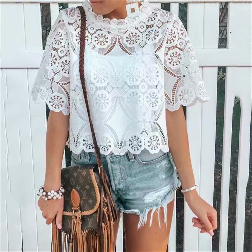 Fashion Elegant Lace Mesh Embroidery Women Blouses Sexy Hollow Out Ruffled Female Short Top Shirt Short Sleeve Summer Party Tops