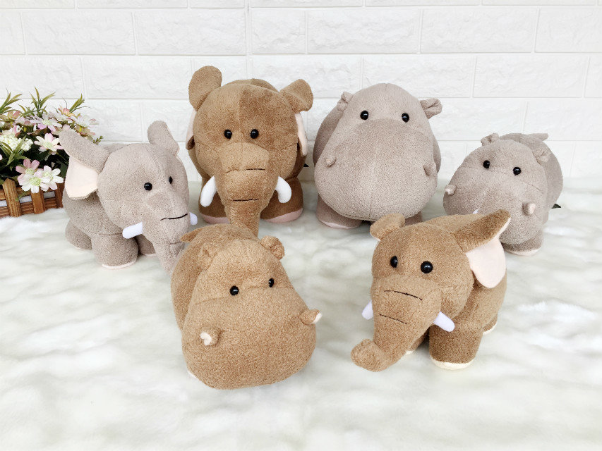 GGS 20cm 30cm Fluffy super soft Wedding gift plush toys Lovely small Hippos&Elephant Plush toy Doll Xmas kids Children's Gift super cute plush toy dog doll as a christmas gift for children s home decoration 20