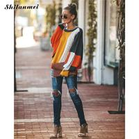 Autumn Winter 2019 Women Sweaters And Pullovers Street Style Lantern Sleeve Patchwork Jumper Fashion Loose Chunky Knit Sweaters