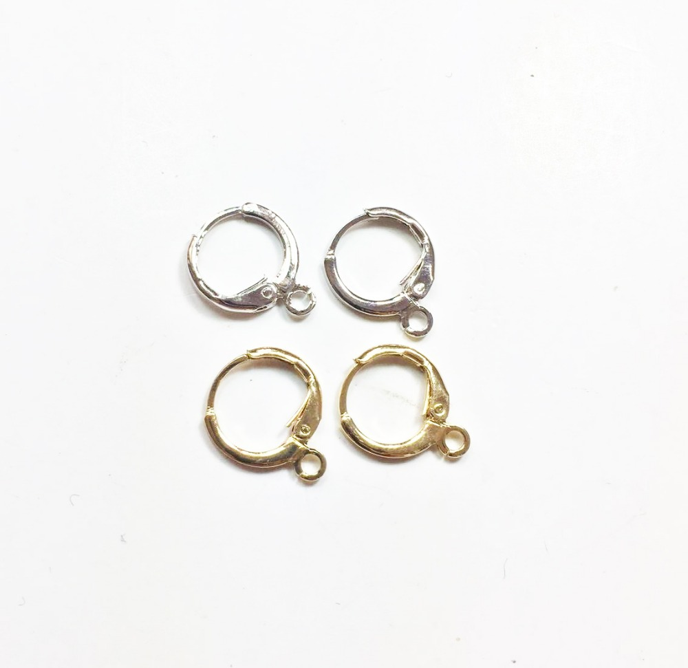 Eruifa 20pcs 12mm Earing Base Connector Linker Holder Outer Inner Brass Hoop Clip For Earring DIY 2 Colors Nickle And Lead Free