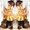 Ouro define girls roupas de bebê menina camisetas roupas crianças leggings moda dress calças terno uniforme escolar de verão 2-8year