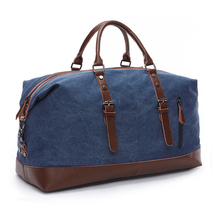 High Quality Canvas Leather Men Travel Bags Carry on Luggage
