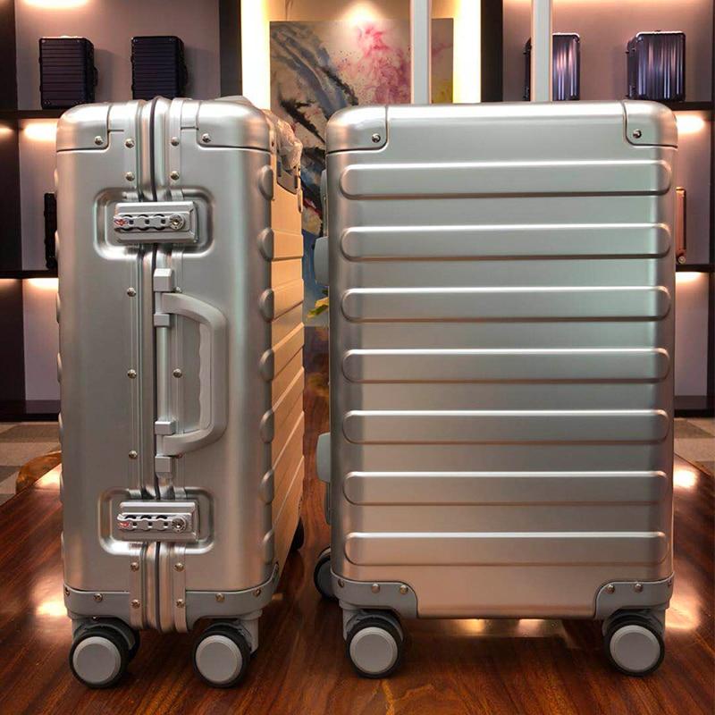100% Aluminum Alloy Business Travel Hard Shell Spinner Pull Rod Box TSA Lock Cabin Trolley Suitcase 20