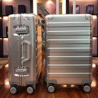 100% Aluminum Alloy Business Travel Hard Shell Spinner Pull Rod Box TSA Lock Cabin Trolley Suitcase 2024inch Carry on Luggage