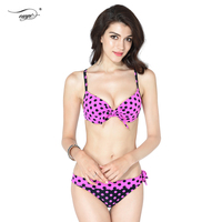 2016 New Dot Print Sexy Swimsuit Girls Cute Bow Knot Bikini Set For Women Push Up Triangle Swimwear Strappy Bathing suit 1070