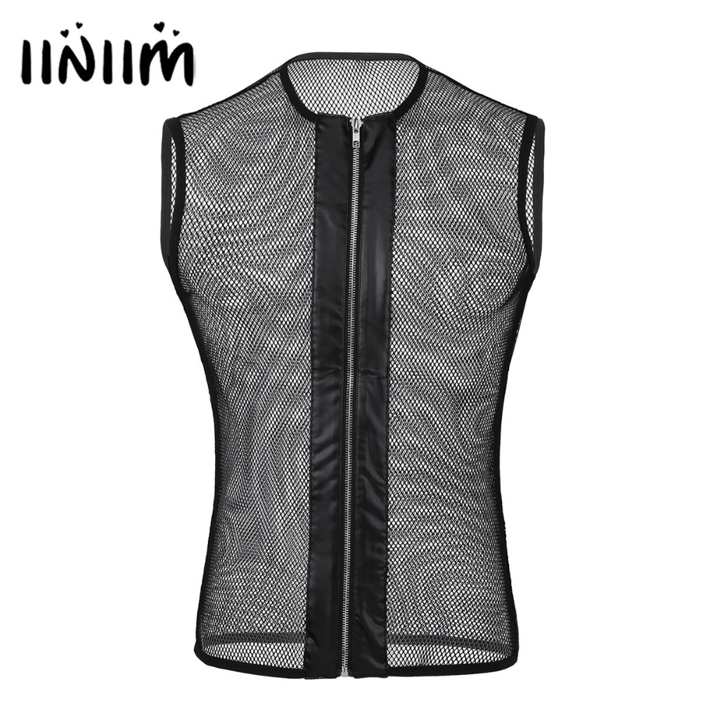 iiniim Men See-through Mesh Fishnet Zipper Muscle   Tank     Top   Sexy Night Clubwear Gay Mens Evening Parties Costume Vest